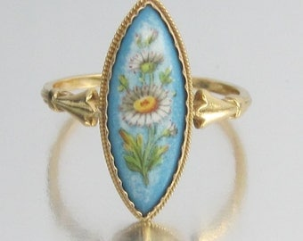 Antique French ART NOUVEAU Hand Painted Flowers on Porcelain Engagement Ring 18K. Loyal Love.