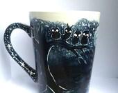 The Dark Trail - coffee mug - Forest Painting - Owl Mug - Woodland Animals - Moon - Whimsical