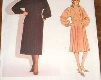 1980s Sewing Pattern Vogue American Designer 1088, Kasper Peplum Top Pleated Skirt Womens Misses Vintage Size 10 Bust 32 Uncut Factory Folds