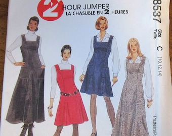 McCall's 8537 Flared Jumper, Princess Dress Square Neck Womens Misses Vintage Sewing Pattern Size 10 12 14 Bust 32 34 36 Uncut Factory Folds