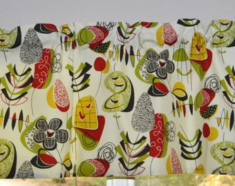 Kitchen Curtain, Kitchen Valance Mid Century Mod . Atomic Inspired . Super Cute . Handmade by Seams Original