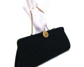 50s Black Clutch Black Cloth Clutch Black Cocktail Bag 1950s Evening Bag Black Evening Purse Black Gold Clutch Formal Purse Vegan Friendly