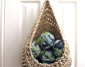 Hanging Crochet Basket - Modern Wall or Door Storage Basket - Nursery Decor - Minimalist Decor - Doorknob Basket