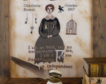 Jane Eyre cross stitch pattern by The Primitive Hare at cottageneedle.com Charlotte Brontë classic literature