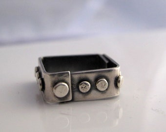 Silver squre band sterling silver ring, modern, cool, industrial look, gift for her
