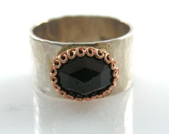 Garnet ring. Silver and gold ring. garnet gold ring. Gold ring. Silver gold ring. gift for her, garnet jewelry, (gsr-7039).