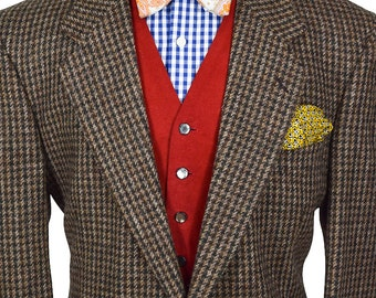 44 Long Preppy Houndstooth Tweed Blazer
