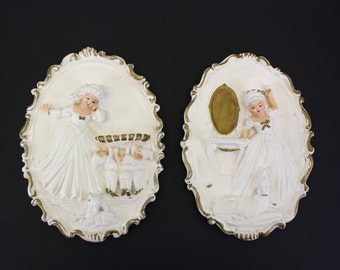 Vintage Pair of Chalk Wall Plaques Oval w/Young Girls and Animals (E1812)