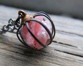 Pink Rhodochrosite Necklace Girlfriend Wife Gift Jewelry Valentines Trending Raw Stone Crystal Gemstone Love Birthstone Vintage cage Pendant