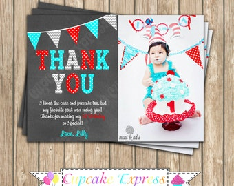 Dr. Seuss Inspired  PRINTABLE Thank You Card  Invitation #7  Little Man chevron polka dot thing 1 thing 2 photo thank you aqua blue red