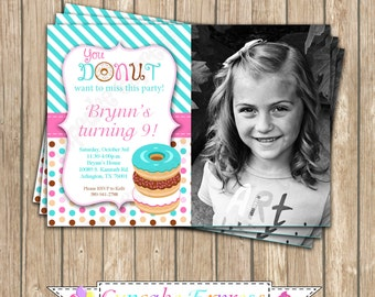 Donut Shoppe Birthday Party PRINTABLE Photo Invitation #2 pink teal brown donuts pajama party DIY personalized
