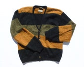 Mens Wool and Mohair Cardigan Sweater by Arrow Cum Laude Black, Olive, and Orange Stripes Size Medium M