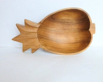Pineapple Shaped Serving Bowl Carved Wood Wooden