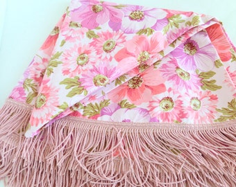 Round Vinyl Tablecloth with Fringe Flannel Backed Pink, Purple, Green Flowers Floral Patio Deck Porch Decor