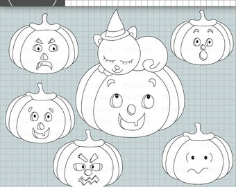 Halloween Digital Stamps, Pumpkin Digital Stamps, Witch's Cat, Halloween Digi Stamp, Commercial Use, Kid's Card Making Embellishments