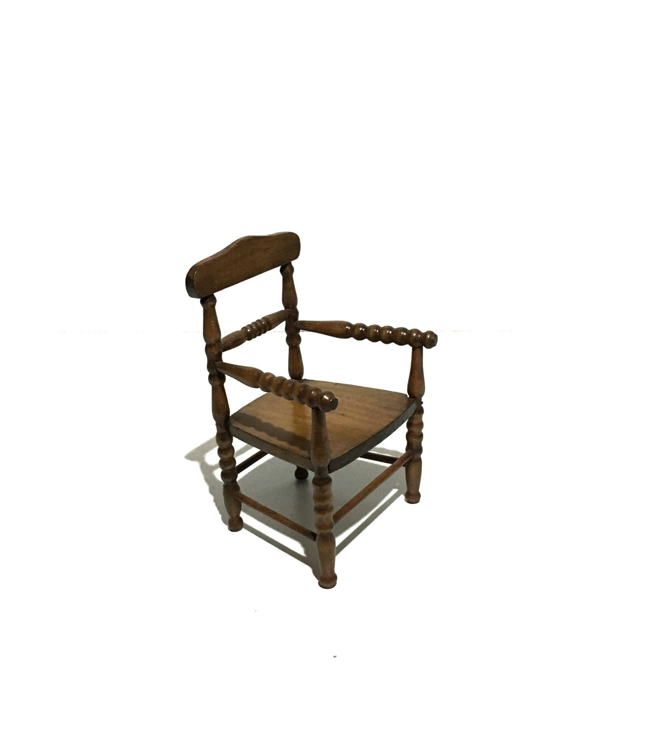 antique hand carved turned wood doll chair
