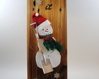 Let It Snow upcycled wood snowman shovel snowflakes hat scarf wall hanging painted