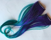 Ombre Human Hair Extensions Streaks Purple and Teal Green Blue Dip Dye Fade Clip in or Tape style 12 inches long