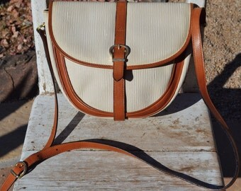 Authentic Salvatore Ferragamo Leather Embossed Saddle Shoulder Crossbody Bag