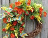Spring Wreath, Summer Wreath, Orange Blue and Yellow Door Wreath, Spring Summer Wreaths for Front Door, Summer Door Wreath, Wreath, Wreaths