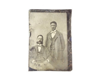 Vintage Tintype Photo of Men / Civil War Era Tintype Photograph