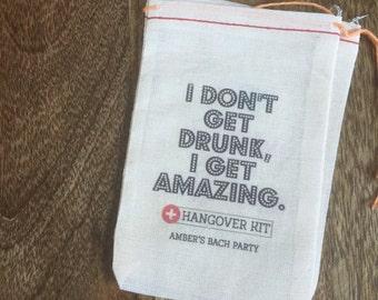 4x6 Mini Muslin Bags for Bachelorette Kits - Hangover, Party Kit