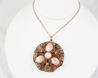 Art Nouveau Copper Filigree Confetti Art Glass Pendant Necklace