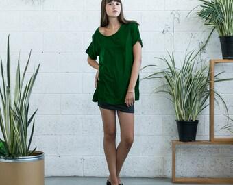 Velvet Top, Green velvet shirt , short sleeve velvet shirt.
