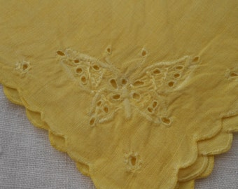 Napkin, Vintage, Butterfly, Yellow, Table Linen