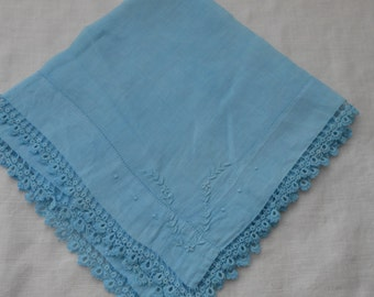 Hanky, Vintage, Wedding, Bridal, Something Blue, Aqua Hand-Dyed