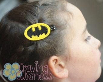 Batman Inspired Hair Clip, Badge Reel, Planner Accessory, or Book Mark