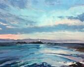 "Original Acrylic Painting, Corbiere Lighthouse, Jersey 12x12"""