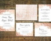 Printable Rose Gold Foil Wedding Invitation Suite | Wedding Invitation Set, Wedding Invitations, Blush, Gold, Invitation