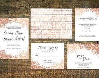 Printable Rose Gold Foil Wedding Invitation Suite | Wedding Invitation Set, Wedding Invitations, Blush, Gold, Invitation