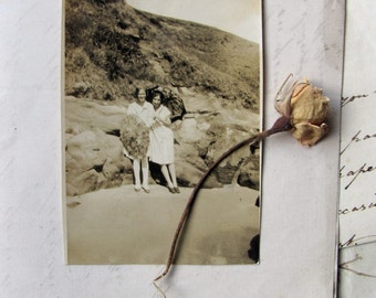 vintage snapshot - 1930s box brownie photo of best friends on the beach -