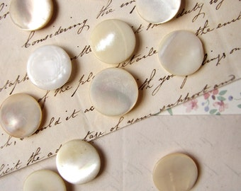 antique mother of pearl buttons - full moon white shimmery buttons with shank backs - 19mm - price per button
