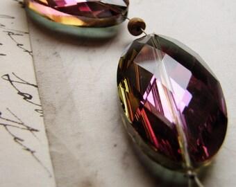 Huge Swarovski oval beads - AB Aurora Borealis vitrail with diamond facet cut and gorgeous depth - 32mm