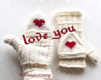 Knitted Heart Gloves Knit Fingerless Gloves Women Winter Accessories Armwarmers  // Girlfriend Gift // Gifts For Women  // Gifts For Her