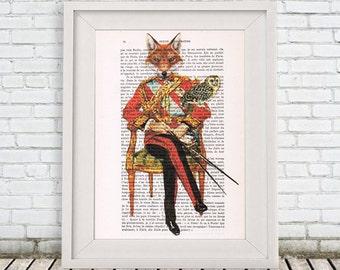 Fox Art Print, Human Animal, Fox Artwork, Acrylic Painting, A4 size, Christmas Gift for men, Gold, Wall Art, Art Print, Original Artwork