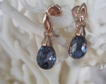 Sky Blue Tear Drop Rose Gold Earrings
