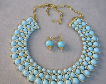 Summer Soft Sky Blue and Gold Dynamic Collar Necklace Set
