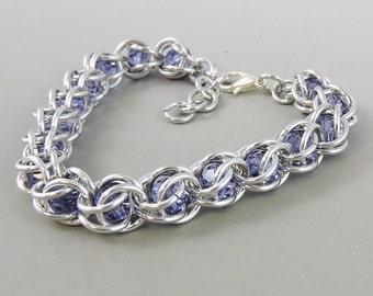 Chainmail Bracelet Chainmaille Swarovski Crystal Passions, Light Purple Swarovski, Captured Chain Mail Bracelet, Purple Bracelet 717