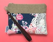 Ready To Ship Navy Floral Leather Wristlet Vintage Lace