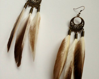 Brown and Cream Feather Chandelier Earrings