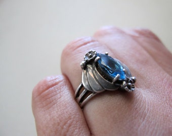 1970s RING Sterling Silver 925 w/ Faceted Crystal Blue Topaz Vintage handmade