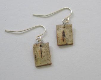 Birch Bark Minimalistic OOAK Earrings