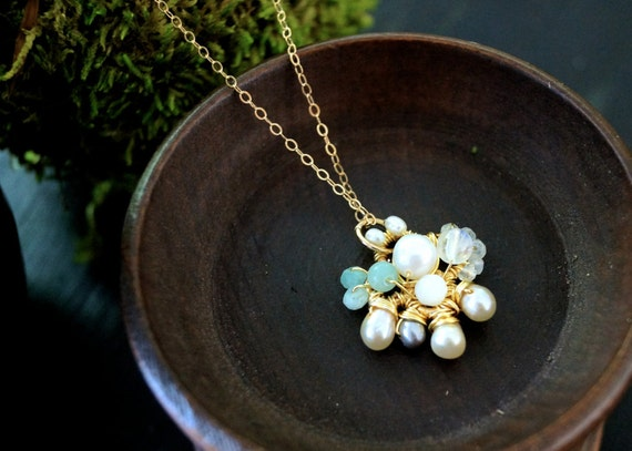 Freshwater pearl, moonstone, & peruvian opal wrapped cluster pendant necklace