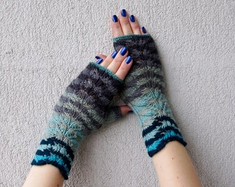 Fingerless Gloves Knitted Arm Warmers Hand Warmers Fall Mittens Women Gloves Arm Warmers Perfect Gifts Wool Fingerless Gloves Striped gloves