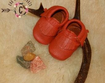 WOW! Orange Fringe Moccasins 100% genuine leather baby moccasins Mocs moccs
