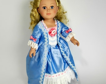 18 inch Doll Clothes Dress Up Blue Silk Gown and Petticoat with Pink Bows 18th Century Style